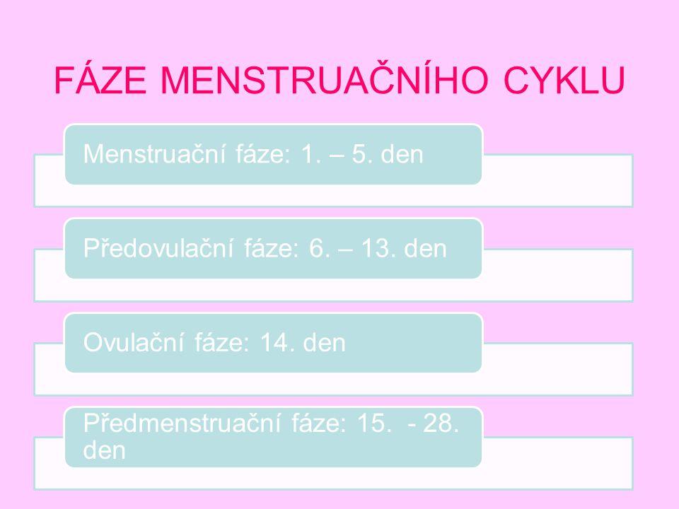 FÁZE MENSTRUAČNÍHO CYKLU Menstruační fáze: 1. – 5. denPředovulační fáze: 6. – 13. denOvulační fáze: 14. den Předmenstruační fáze: 15. - 28. den