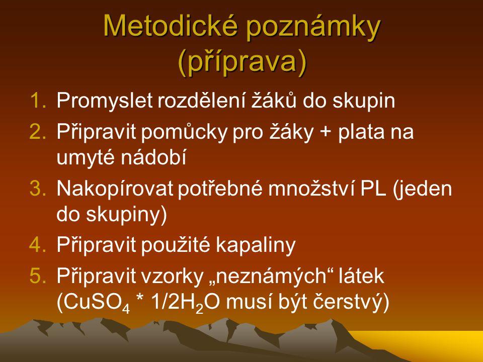 Metodické poznámky (příprava) 1.Promyslet rozdělení žáků do skupin 2.Připravit pomůcky pro žáky + plata na umyté nádobí 3.Nakopírovat potřebné množstv