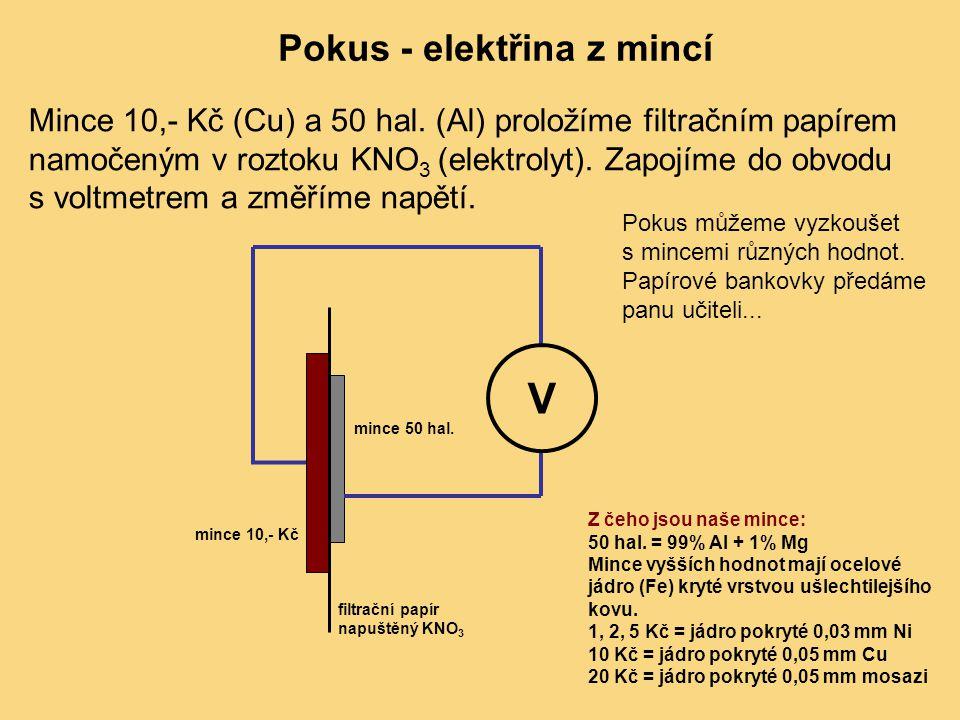 Pokus - elektřina z mincí Mince 10,- Kč (Cu) a 50 hal. (Al) proložíme filtračním papírem namočeným v roztoku KNO 3 (elektrolyt). Zapojíme do obvodu s