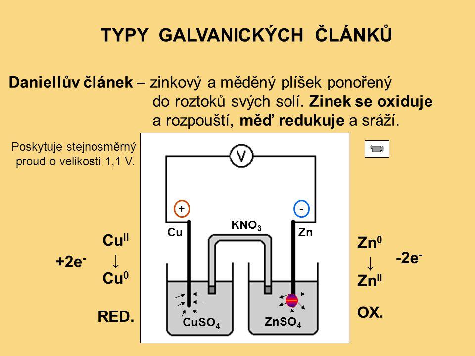 TYPY GALVANICKÝCH ČLÁNKŮ Daniellův článek – zinkový a měděný plíšek ponořený do roztoků svých solí. Zinek se oxiduje a rozpouští, měď redukuje a sráží