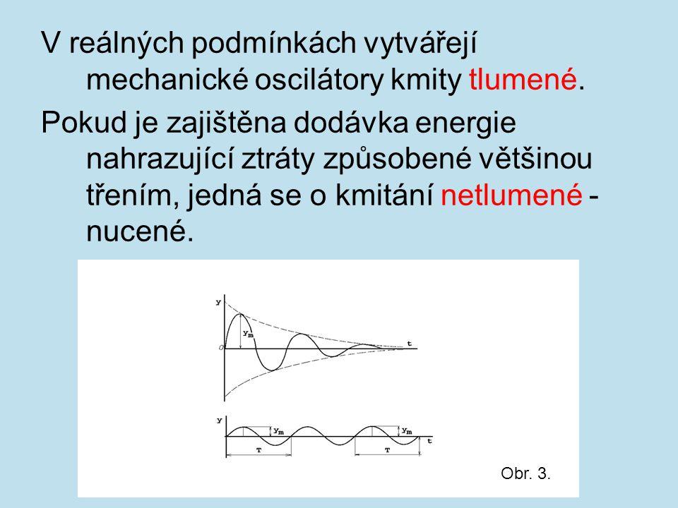V reálných podmínkách vytvářejí mechanické oscilátory kmity tlumené.