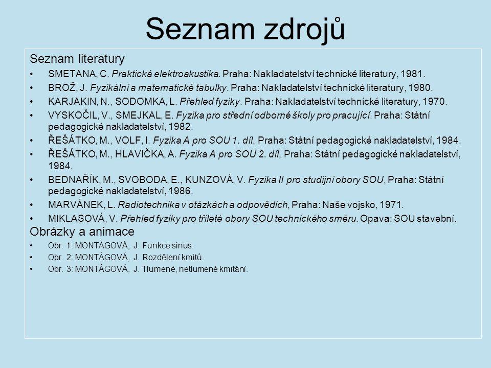 Seznam zdrojů Seznam literatury SMETANA, C.Praktická elektroakustika.