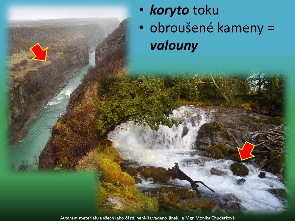 koryto toku obroušené kameny = valouny Autorem materiálu a všech jeho částí, není-li uvedeno jinak, je Mgr.