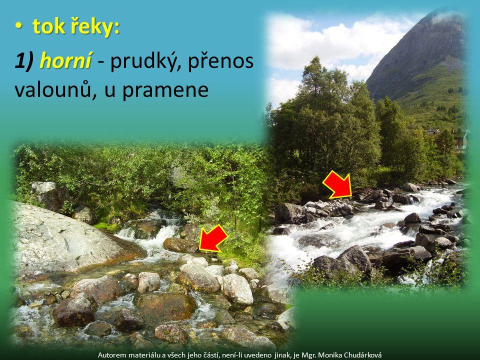 tok řeky: tok řeky: horní 1) horní - prudký, přenos valounů, u pramene Autorem materiálu a všech jeho částí, není-li uvedeno jinak, je Mgr.