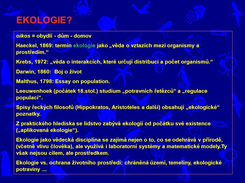 """oikos = obydlí - dům - domov Haeckel, 1869: termín ekologie jako """"věda o vztazích mezi organismy a prostředím. Krebs, 1972: """"věda o interakcích, které určují distribuci a počet organismů. Darwin, 1860: Boj o život Malthus, 1798: Essay on population."""