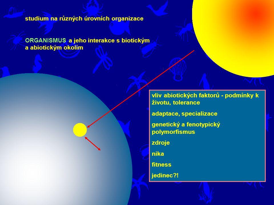 studium na různých úrovních organizace ORGANISMUS a jeho interakce s biotickým a abiotickým okolím vliv abiotických faktorů - podmínky k životu, tolerance adaptace, specializace genetický a fenotypický polymorfismus zdroje nika fitness jedinec?!