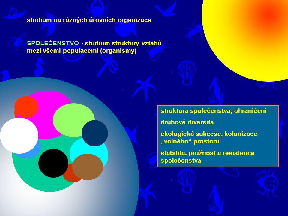 """studium na různých úrovních organizace SPOLEČENSTVO - studium struktury vztahů mezi všemi populacemi (organismy) struktura společenstva, ohraničení druhová diversita ekologická sukcese, kolonizace """"volného prostoru stabilita, pružnost a resistence společenstva"""