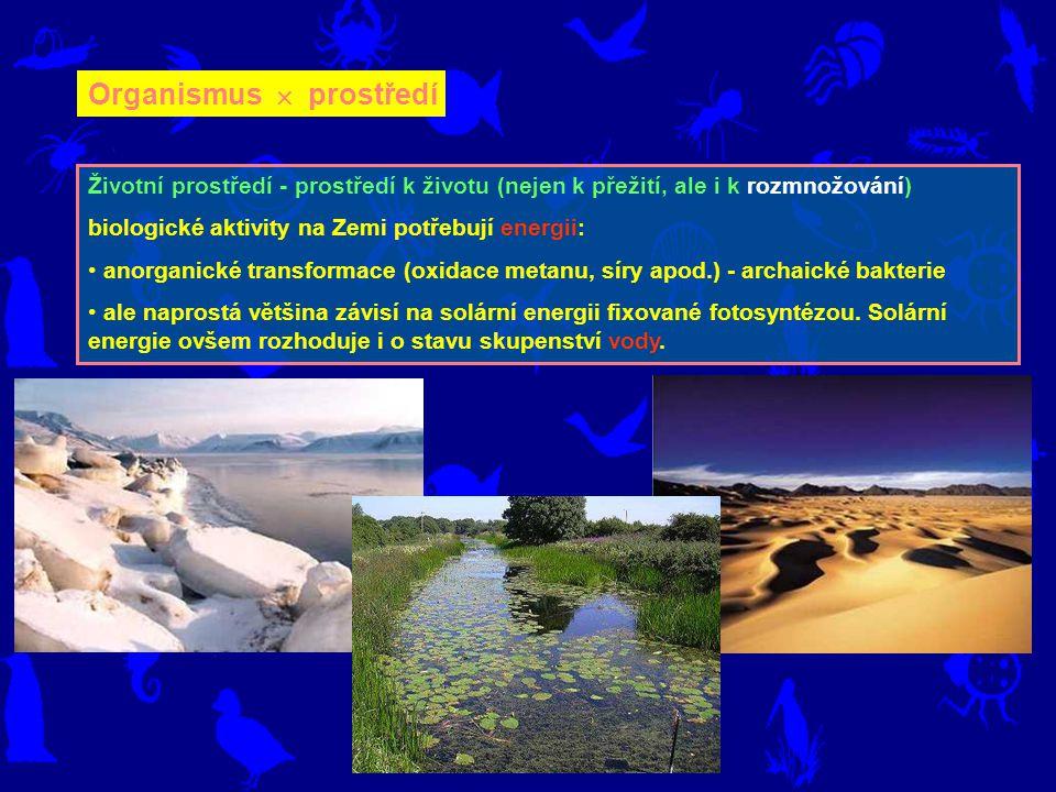 Organismus  prostředí Životní prostředí - prostředí k životu (nejen k přežití, ale i k rozmnožování) biologické aktivity na Zemi potřebují energii: a