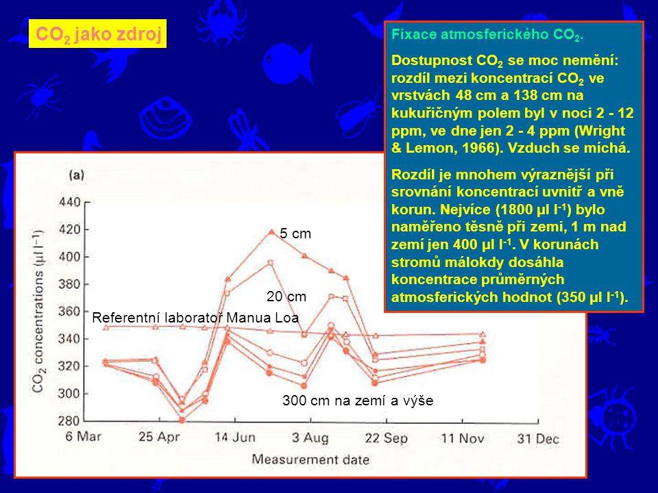 CO 2 jako zdroj Fixace atmosferického CO 2. Dostupnost CO 2 se moc nemění: rozdíl mezi koncentrací CO 2 ve vrstvách 48 cm a 138 cm na kukuřičným polem
