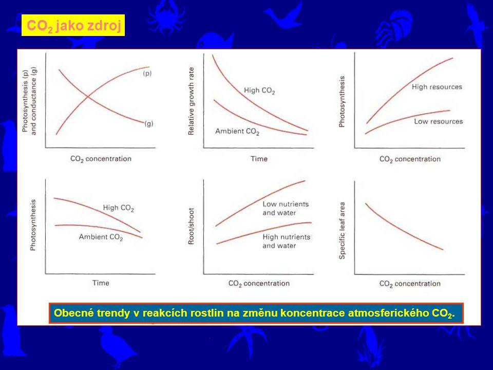 Obecné trendy v reakcích rostlin na změnu koncentrace atmosferického CO 2. CO 2 jako zdroj