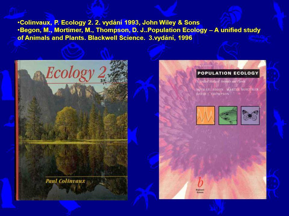 Ricklefs, R.E.., Ecology, W.H.Freeman & Co., 1990 (3 rd ed.) Krebs, C.J., Ecology - the experimental analysis of distribution and Abundance.