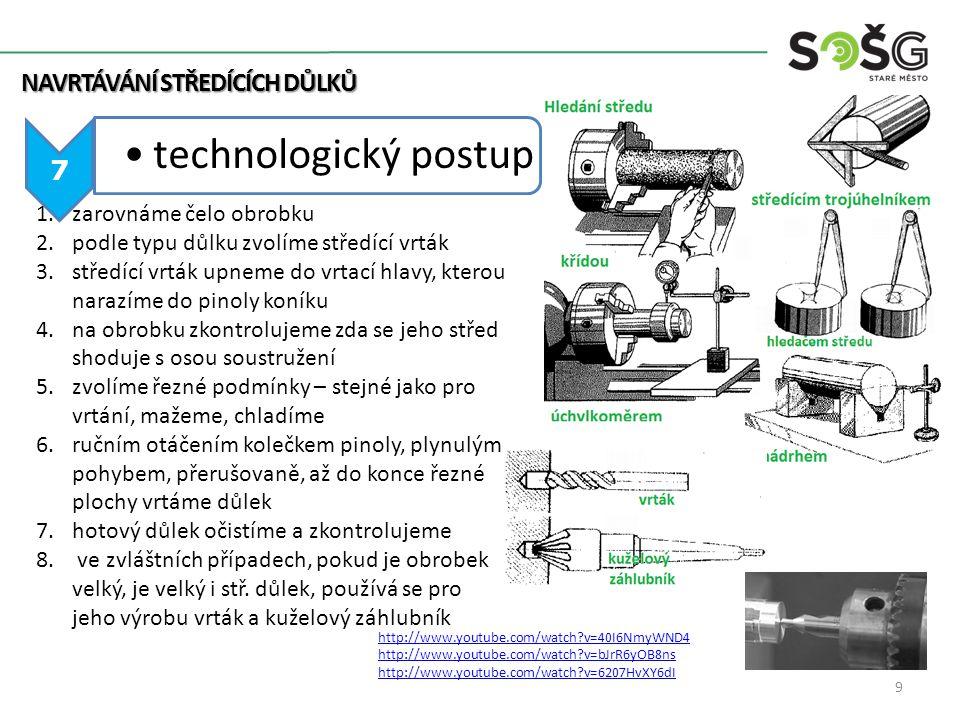 NAVRTÁVÁNÍ STŘEDÍCÍCH DŮLKŮ 7 technologický postup 1.zarovnáme čelo obrobku 2.podle typu důlku zvolíme středící vrták 3.středící vrták upneme do vrtac