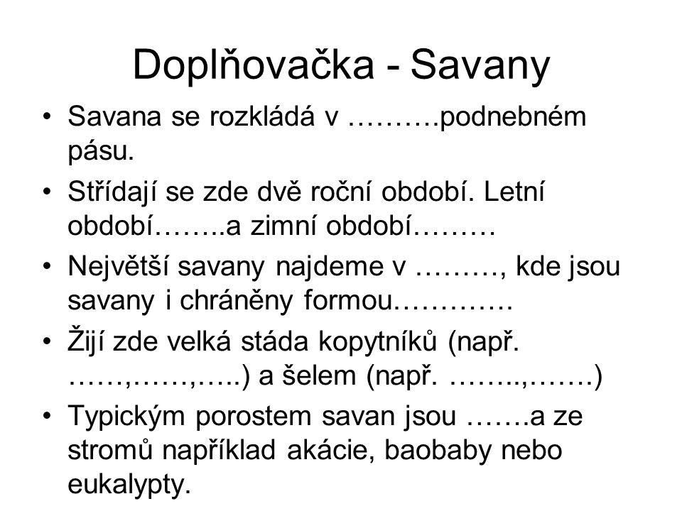 Doplňovačka - Savany Savana se rozkládá v ……….podnebném pásu. Střídají se zde dvě roční období. Letní období……..a zimní období……… Největší savany najd