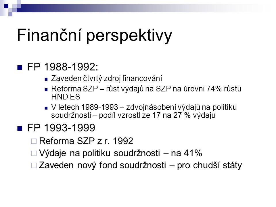 Finanční perspektivy FP 1988-1992: Zaveden čtvrtý zdroj financování Reforma SZP – růst výdajů na SZP na úrovni 74% růstu HND ES V letech 1989-1993 – z