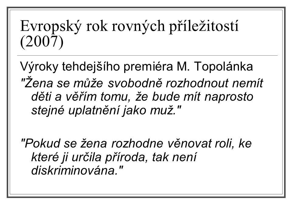 Evropský rok rovných příležitostí (2007) Výroky tehdejšího premiéra M. Topolánka
