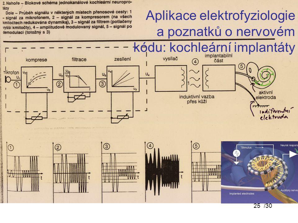 /3025 Aplikace elektrofyziologie a poznatků o nervovém kódu: kochleární implantáty