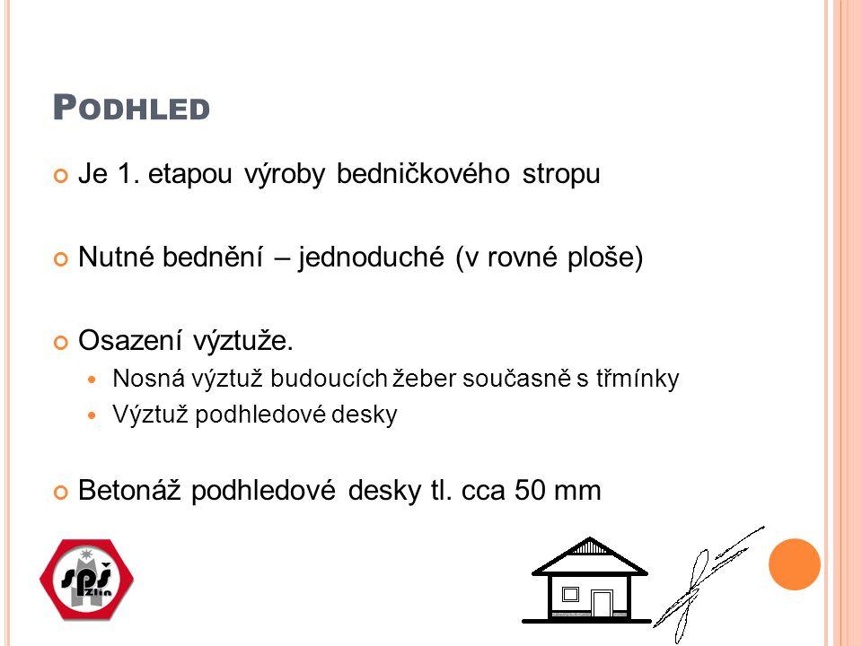 P ODHLED Je 1. etapou výroby bedničkového stropu Nutné bednění – jednoduché (v rovné ploše) Osazení výztuže. Nosná výztuž budoucích žeber současně s t