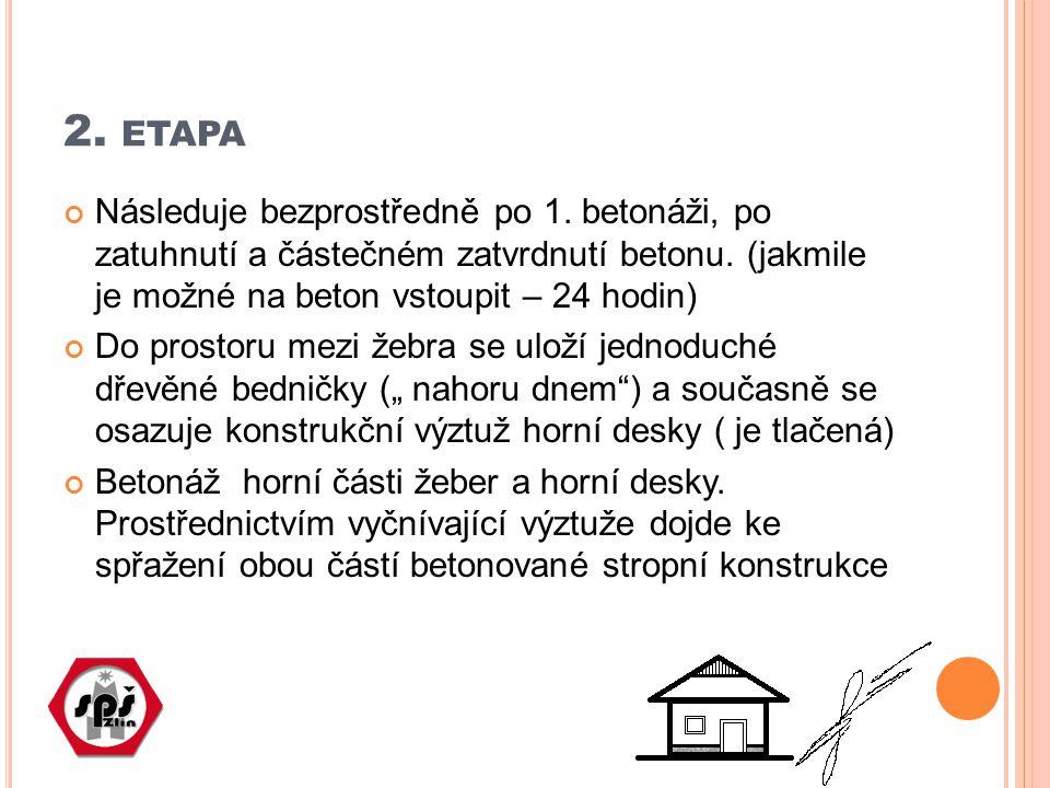 2. ETAPA Následuje bezprostředně po 1. betonáži, po zatuhnutí a částečném zatvrdnutí betonu. (jakmile je možné na beton vstoupit – 24 hodin) Do prosto