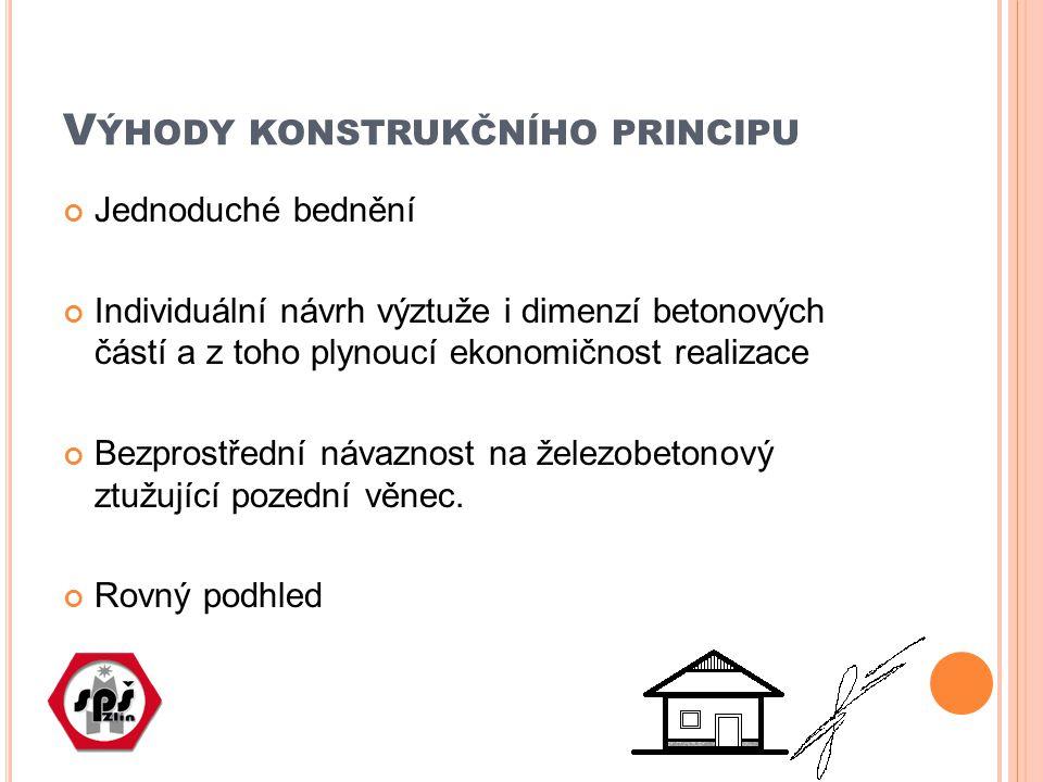 V ÝHODY KONSTRUKČNÍHO PRINCIPU Jednoduché bednění Individuální návrh výztuže i dimenzí betonových částí a z toho plynoucí ekonomičnost realizace Bezpr