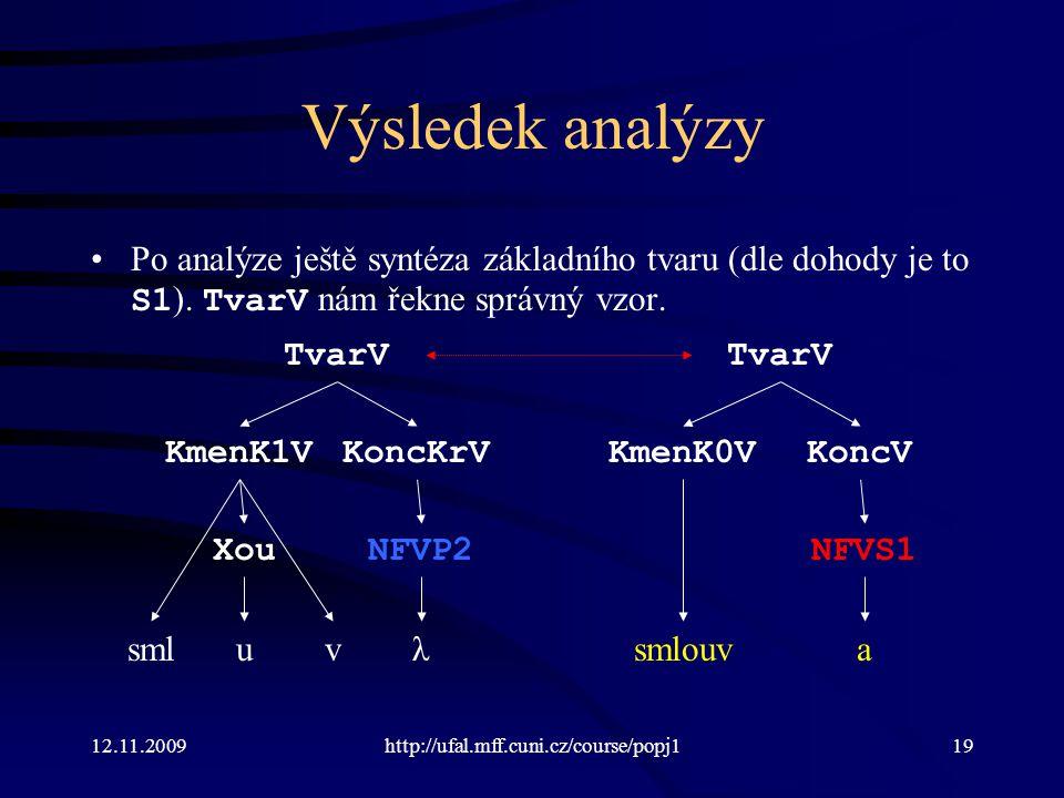 12.11.2009http://ufal.mff.cuni.cz/course/popj119 Výsledek analýzy Po analýze ještě syntéza základního tvaru (dle dohody je to S1 ).