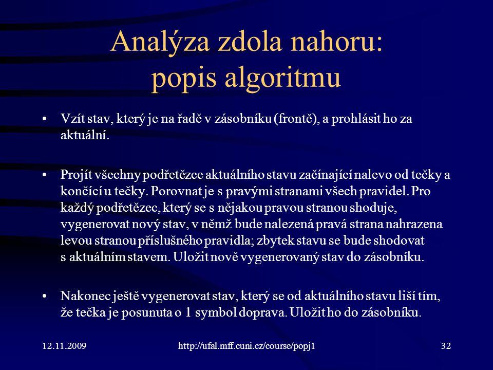 12.11.2009http://ufal.mff.cuni.cz/course/popj132 Analýza zdola nahoru: popis algoritmu Vzít stav, který je na řadě v zásobníku (frontě), a prohlásit ho za aktuální.