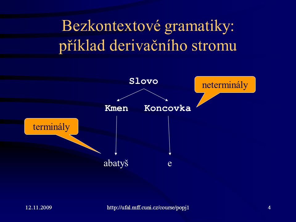 12.11.2009http://ufal.mff.cuni.cz/course/popj135 Příklad analýzy zdola nahoru včetně zásobníku Gramatika S  C D C  c | B C D  d | d C B  b | ab ZásobníkAktuální stav a.