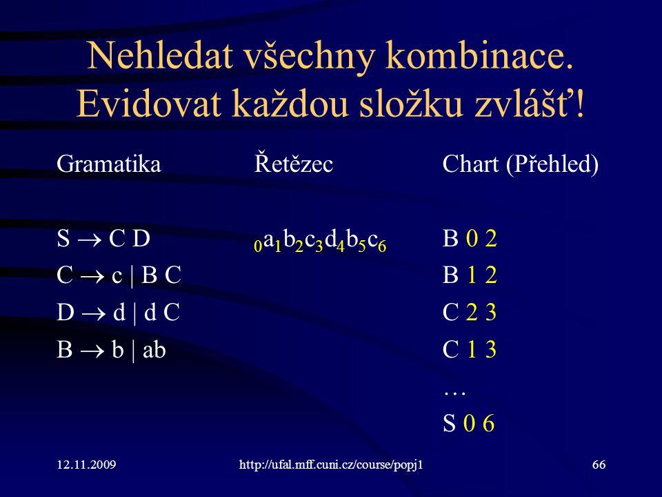 12.11.2009http://ufal.mff.cuni.cz/course/popj166 Nehledat všechny kombinace.
