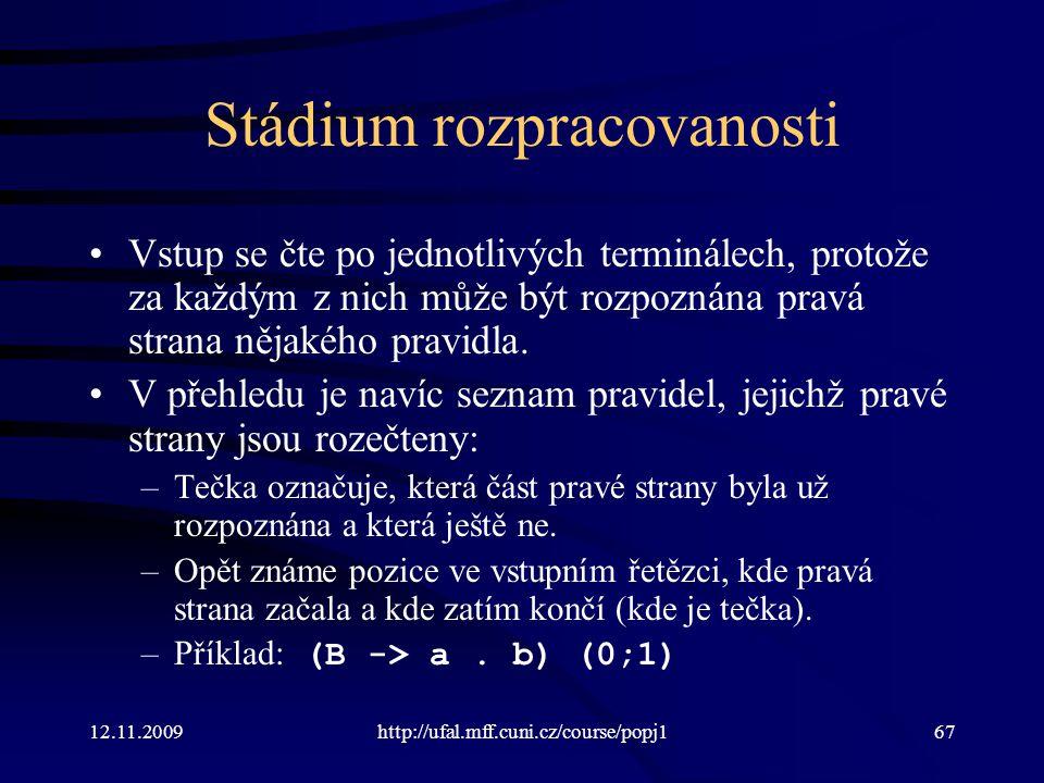 12.11.2009http://ufal.mff.cuni.cz/course/popj167 Stádium rozpracovanosti Vstup se čte po jednotlivých terminálech, protože za každým z nich může být rozpoznána pravá strana nějakého pravidla.