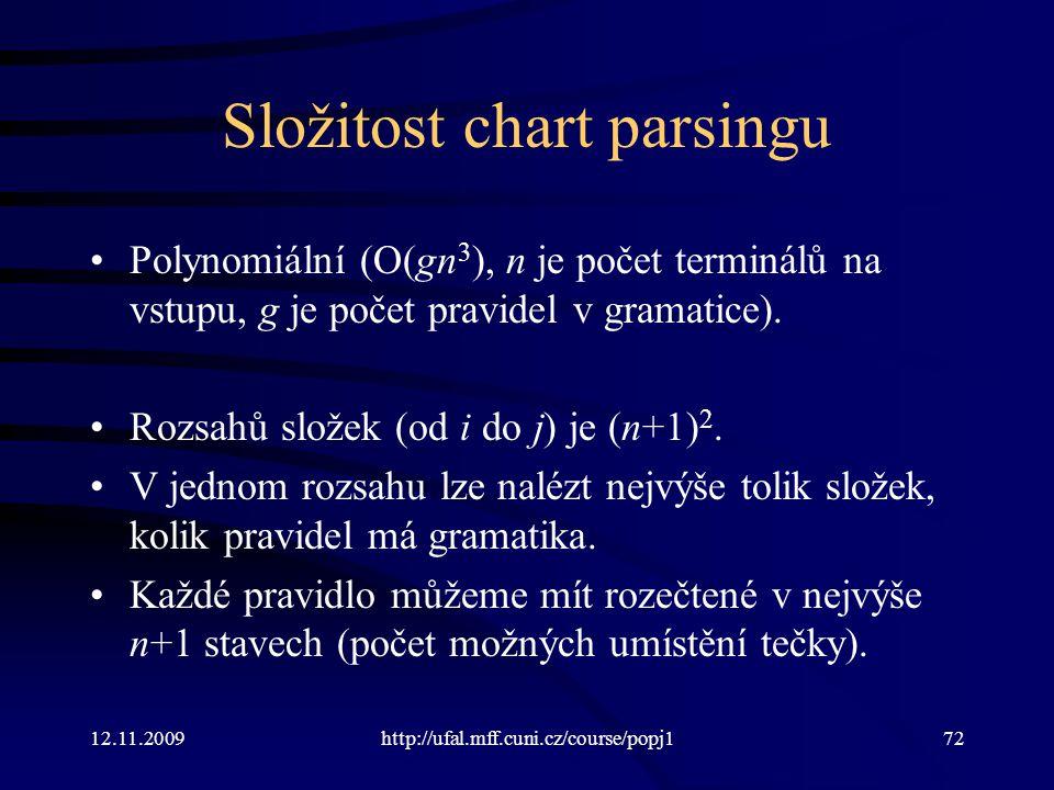 12.11.2009http://ufal.mff.cuni.cz/course/popj172 Složitost chart parsingu Polynomiální (O(gn 3 ), n je počet terminálů na vstupu, g je počet pravidel v gramatice).