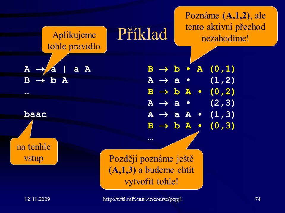 12.11.2009http://ufal.mff.cuni.cz/course/popj174 Příklad A  a | a A B  b A … baac B  b A (0,1) A  a (1,2) B  b A (0,2) A  a (2,3) A  a A (1,3) B  b A (0,3) … Aplikujeme tohle pravidlo na tenhle vstup Poznáme (A,1,2), ale tento aktivní přechod nezahodíme.
