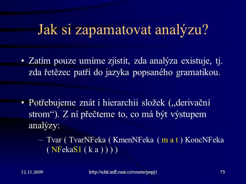 12.11.2009http://ufal.mff.cuni.cz/course/popj175 Jak si zapamatovat analýzu? Zatím pouze umíme zjistit, zda analýza existuje, tj. zda řetězec patří do