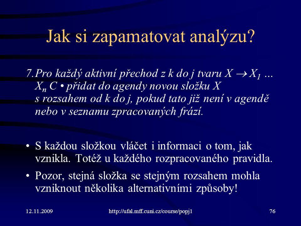 12.11.2009http://ufal.mff.cuni.cz/course/popj176 Jak si zapamatovat analýzu? 7.Pro každý aktivní přechod z k do j tvaru X  X 1 … X n C přidat do agen