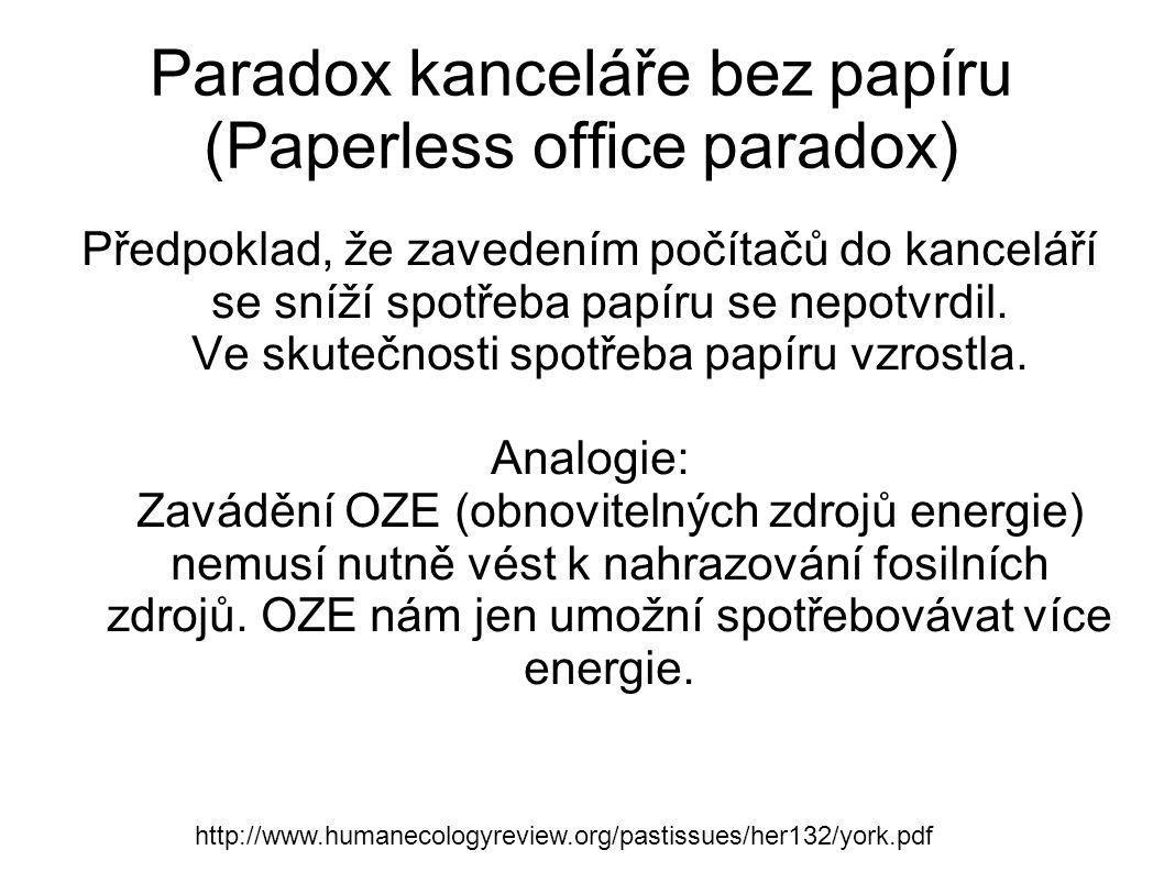 Paradox kanceláře bez papíru (Paperless office paradox) Předpoklad, že zavedením počítačů do kanceláří se sníží spotřeba papíru se nepotvrdil. Ve skut