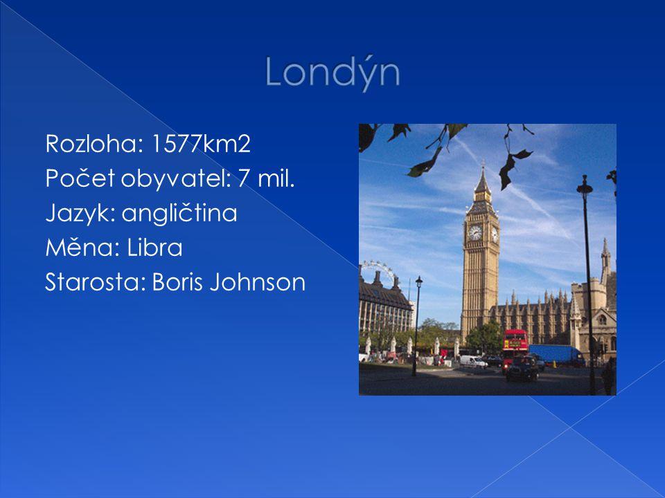 Rozloha: 1577km2 Počet obyvatel: 7 mil. Jazyk: angličtina Měna: Libra Starosta: Boris Johnson