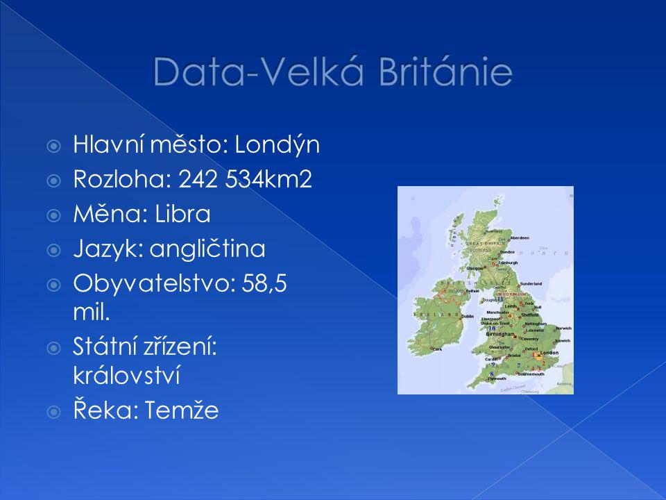  Hlavní město: Londýn  Rozloha: 242 534km2  Měna: Libra  Jazyk: angličtina  Obyvatelstvo: 58,5 mil.  Státní zřízení: království  Řeka: Temže