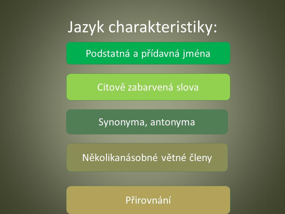 Jazyk charakteristiky: Podstatná a přídavná jména Citově zabarvená slova Synonyma, antonyma Několikanásobné větné členy Přirovnání