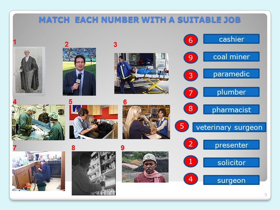 3 3 MATCH EACH NUMBER WITH A SUITABLE JOB 1 2 45 6 789 cashier coal miner paramedic plumber pharmacist veterinary surgeon presenter solicitor surgeon 6 9 3 7 8 5 2 1 4