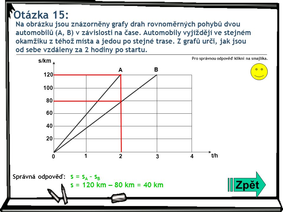 Otázka 15: Na obrázku jsou znázorněny grafy drah rovnoměrných pohybů dvou automobilů (A, B) v závislosti na čase. Automobily vyjíždějí ve stejném okam