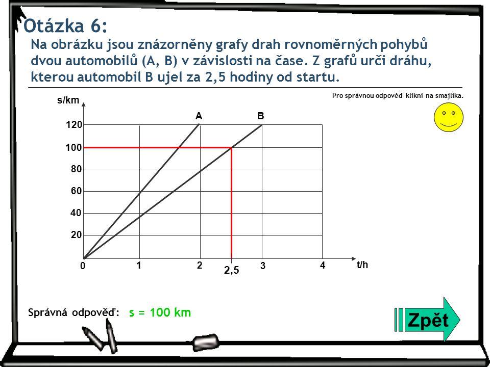 Otázka 6: Na obrázku jsou znázorněny grafy drah rovnoměrných pohybů dvou automobilů (A, B) v závislosti na čase. Z grafů urči dráhu, kterou automobil