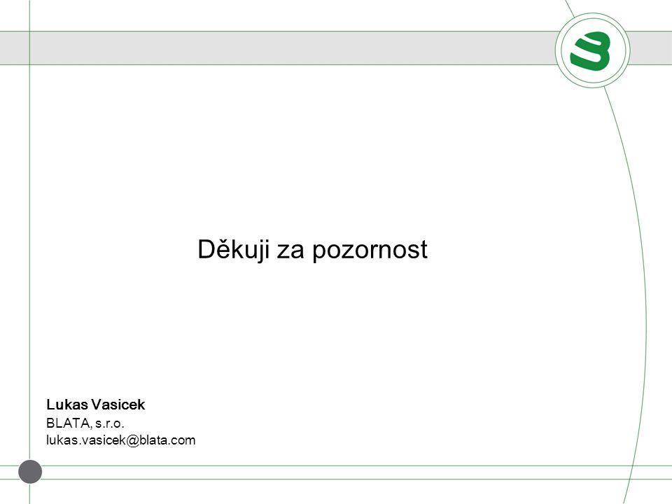 Děkuji za pozornost Lukas Vasicek BLATA, s.r.o. lukas.vasicek@blata.com