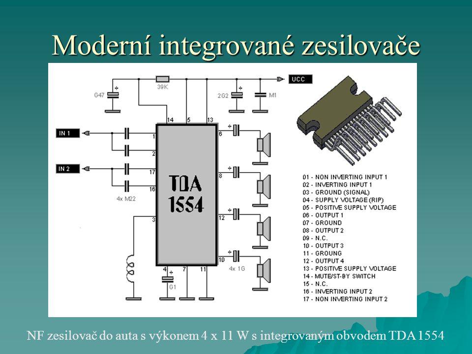 Moderní integrované zesilovače NF zesilovač do auta s výkonem 4 x 11 W s integrovaným obvodem TDA 1554