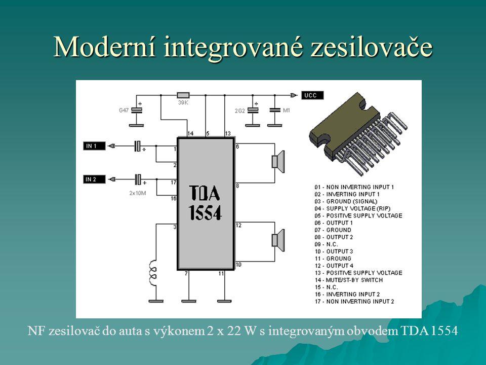 Moderní integrované zesilovače NF zesilovač do auta s výkonem 2 x 22 W s integrovaným obvodem TDA 1554