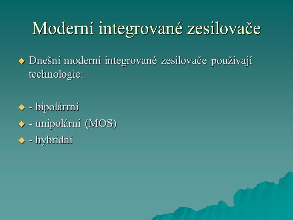 Moderní integrované zesilovače  Používají se téměř ve všech oblastech aplikované elektroniky.
