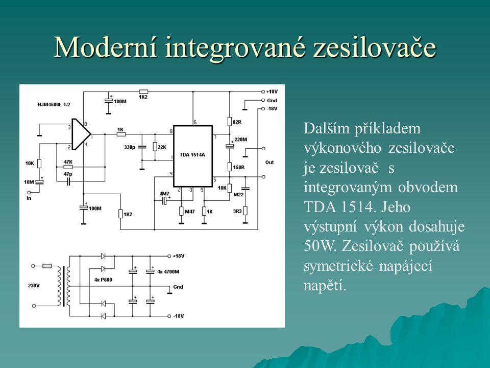 Moderní integrované zesilovače  Výrobky spotřební elektroniky se uplatňují i v automobilovém průmyslu.