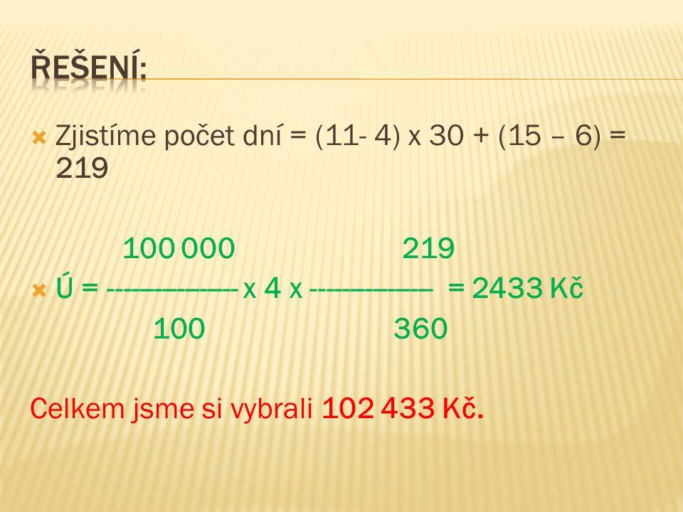  Zjistíme počet dní = (11- 4) x 30 + (15 – 6) = 219 100 000 219  Ú = ----------------- x 4 x ---------------- = 2433 Kč 100 360 Celkem jsme si vybrali 102 433 Kč.