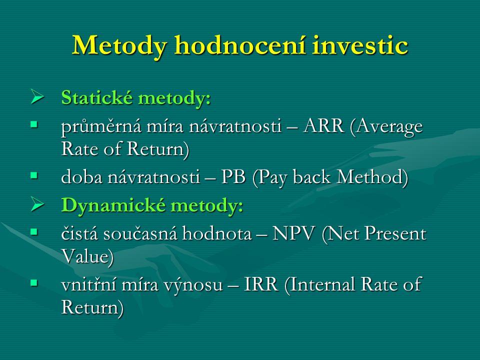 Metody hodnocení investic  Statické metody:  průměrná míra návratnosti – ARR (Average Rate of Return)  doba návratnosti – PB (Pay back Method)  Dy