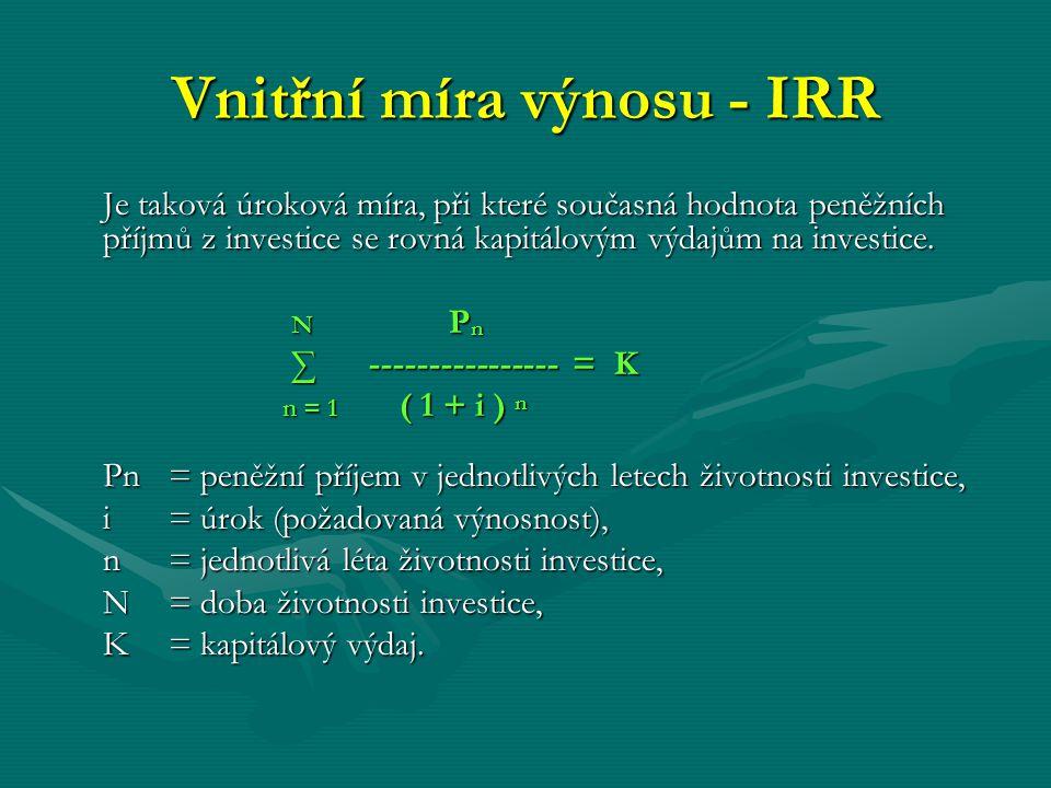 Vnitřní míra výnosu - IRR Je taková úroková míra, při které současná hodnota peněžních příjmů z investice se rovná kapitálovým výdajům na investice. N