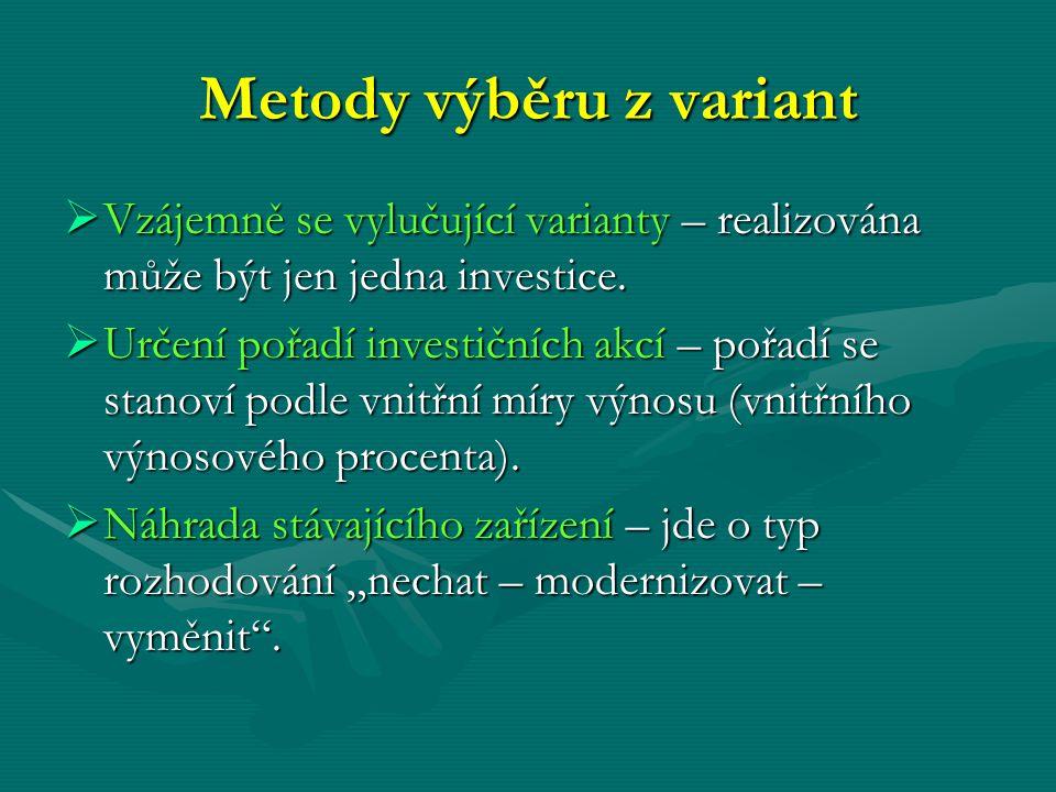 Metody výběru z variant  Vzájemně se vylučující varianty – realizována může být jen jedna investice.  Určení pořadí investičních akcí – pořadí se st