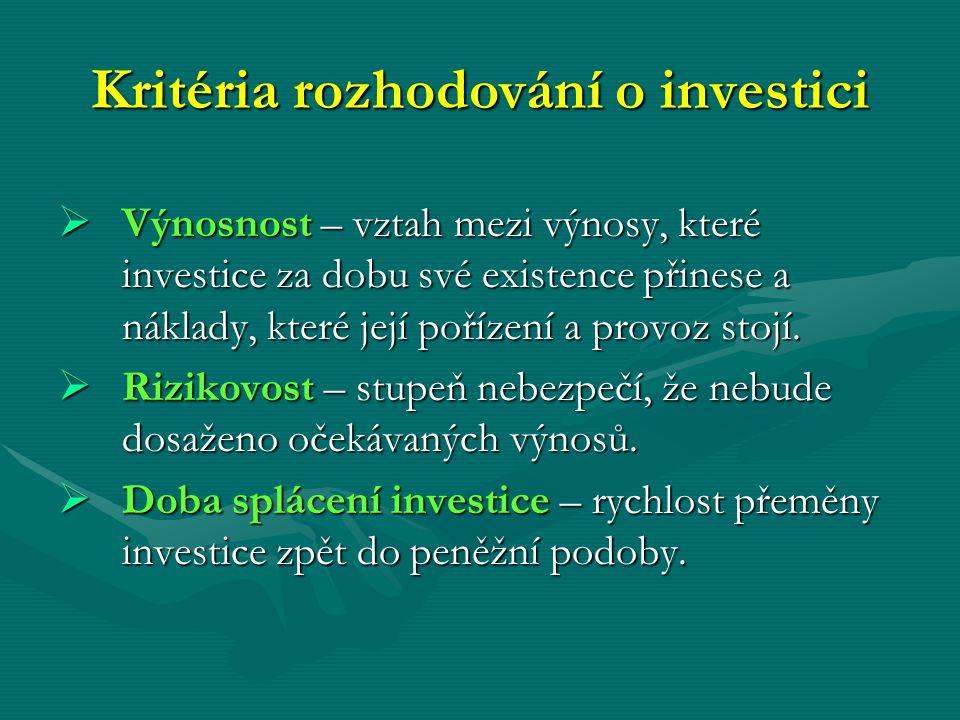 Kritéria rozhodování o investici  Výnosnost – vztah mezi výnosy, které investice za dobu své existence přinese a náklady, které její pořízení a provo