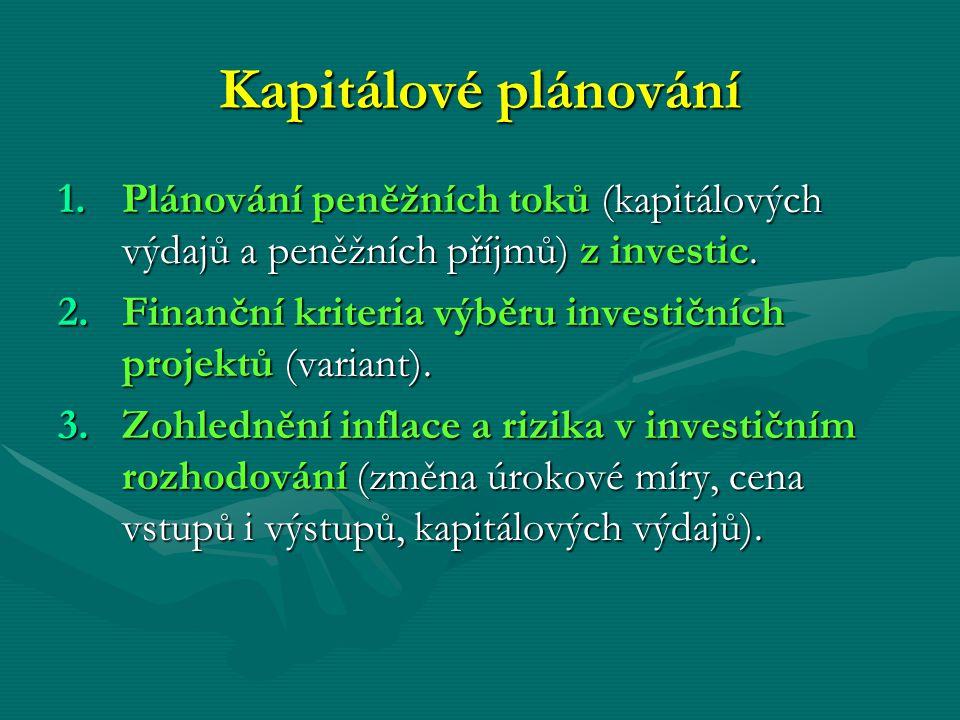 Kapitálové plánování 1.Plánování peněžních toků (kapitálových výdajů a peněžních příjmů) z investic. 2.Finanční kriteria výběru investičních projektů